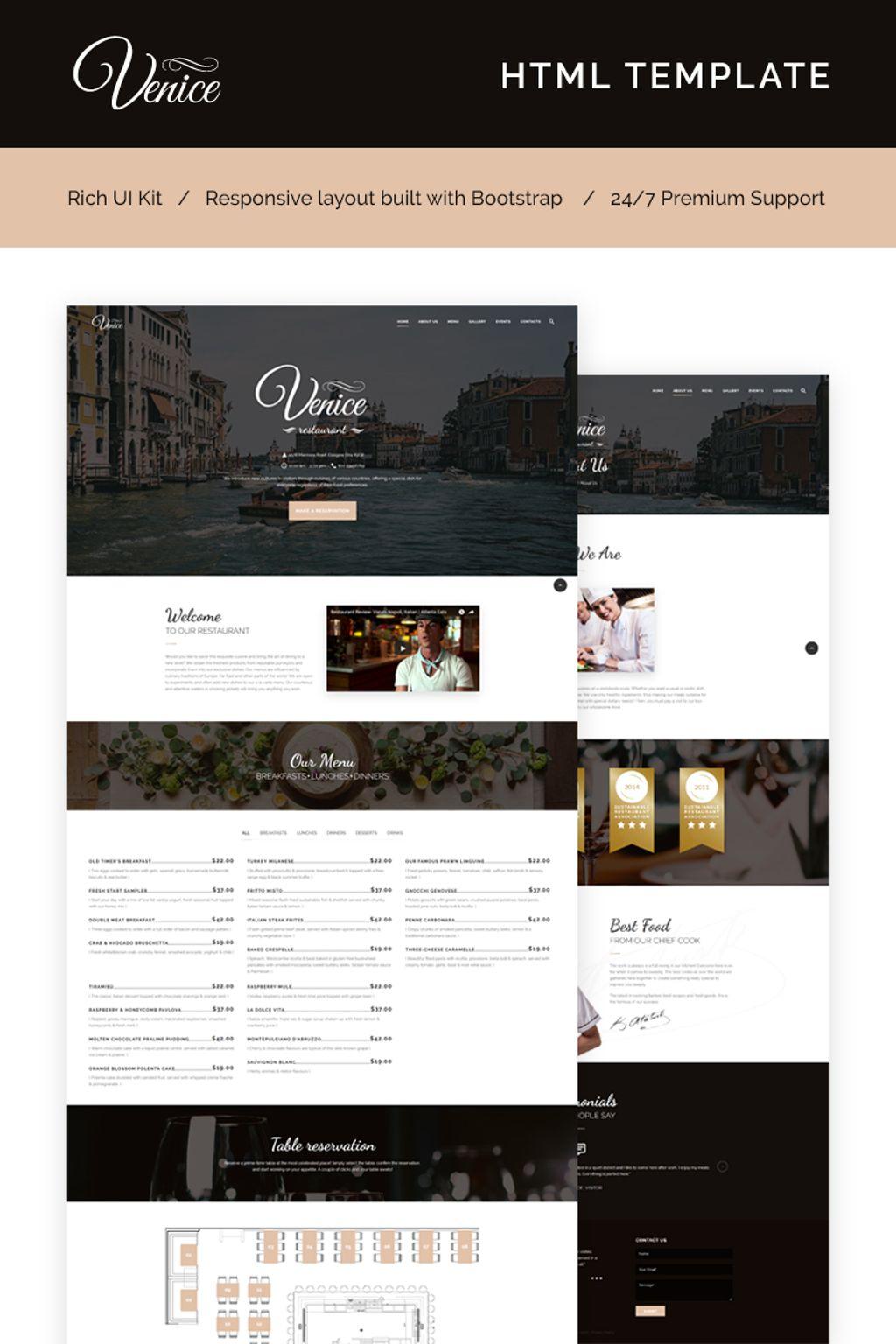 Venice Restaurant - Cafe & Restaurant Responsive Website Template - screenshot