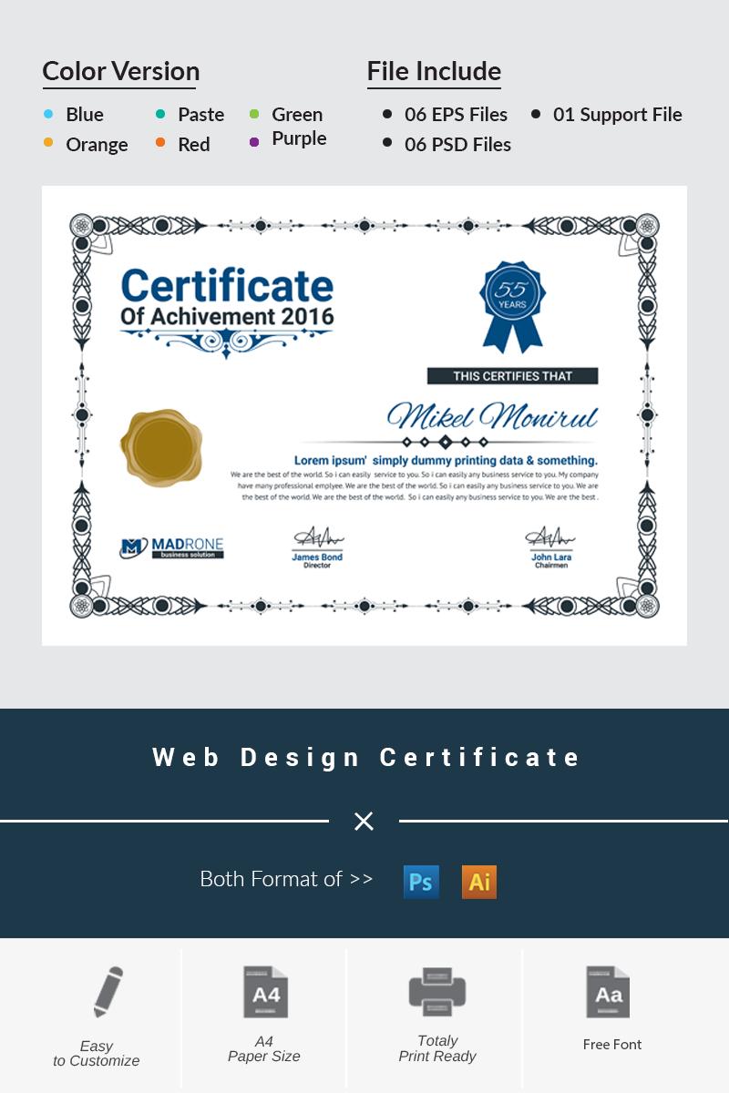 """""""Web Design"""" modèle de certificat  #66276"""