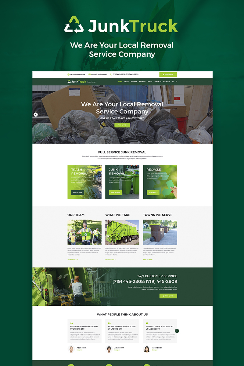 "WordPress Theme namens ""JunkTruck - Garbage Removal Service"" #66224 - Screenshot"