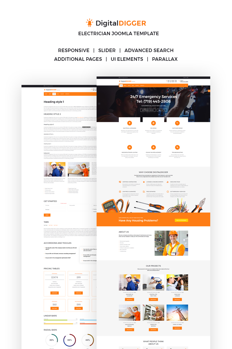 Website Design Template 66301 - service services business electrical home industry consultancy simple handyman