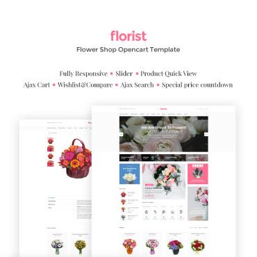 Купить OpenCart шаблон цветочного интернет магазина - Florist. Купить шаблон #66302 и создать сайт.