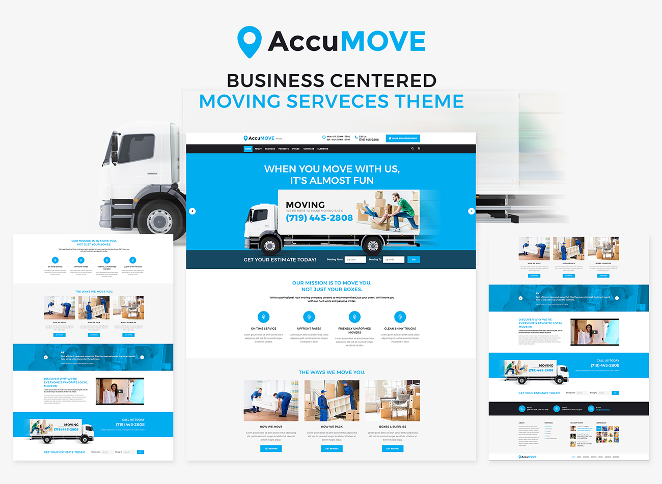AccuMOVE Moving Company Responsive WordPress Theme - Moving estimate template