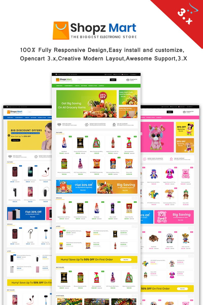 Website Design Template 66328 - clean modern unique inspiretemplate demo creative opencart 3 fashion grocery toys store kids