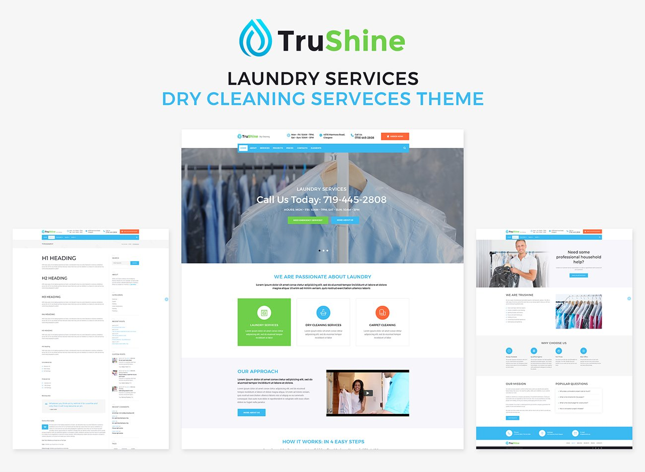TruShine Laundry Service WordPress Theme #66335