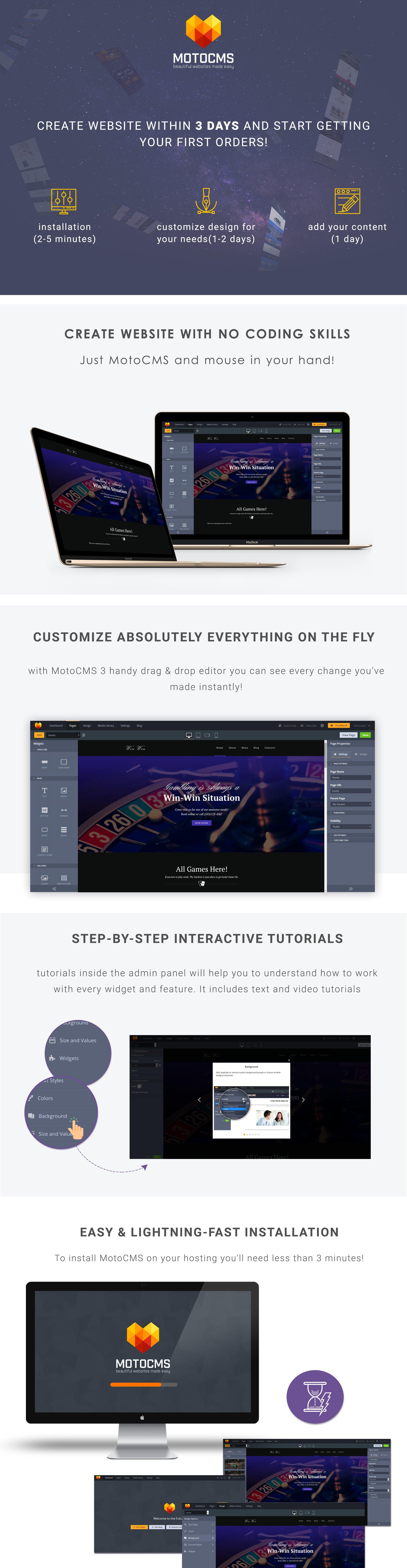 Casino Website Moto CMS 3 Template