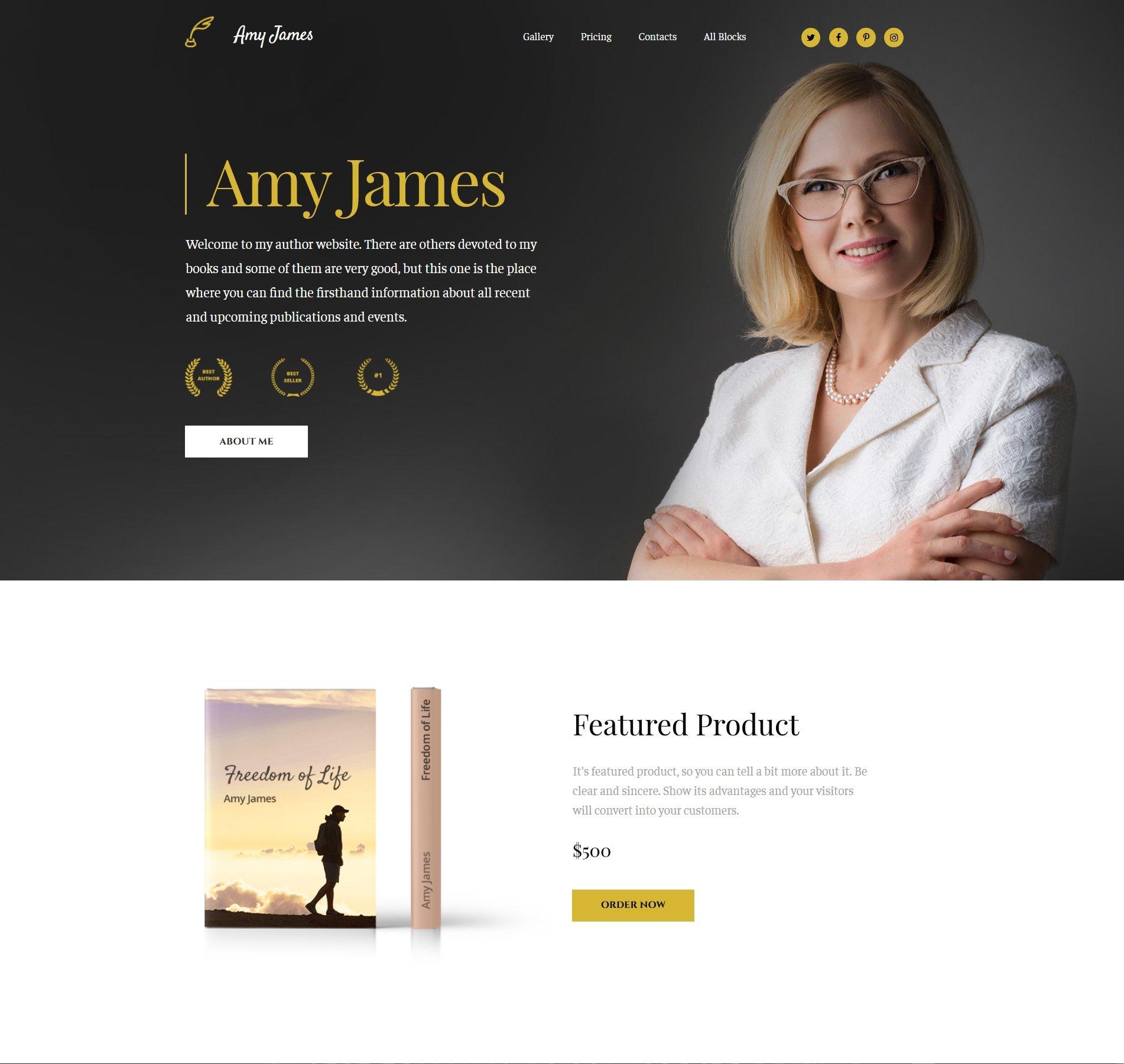 Amy James - Book Writer MotoCMS 3 Landing Page | Website Templates