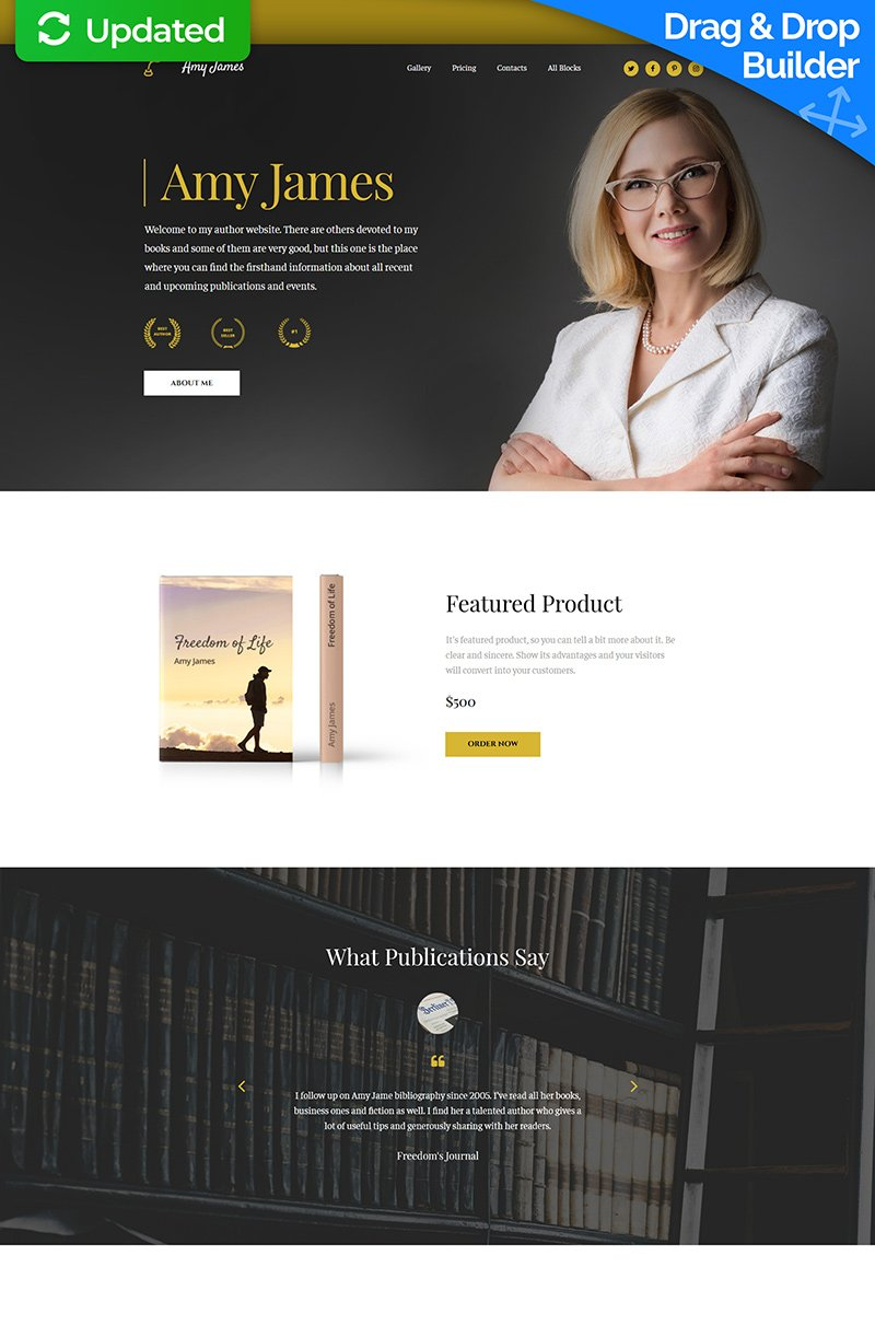 Amy James - Book Writer MotoCMS 3 Landing Page Template - screenshot