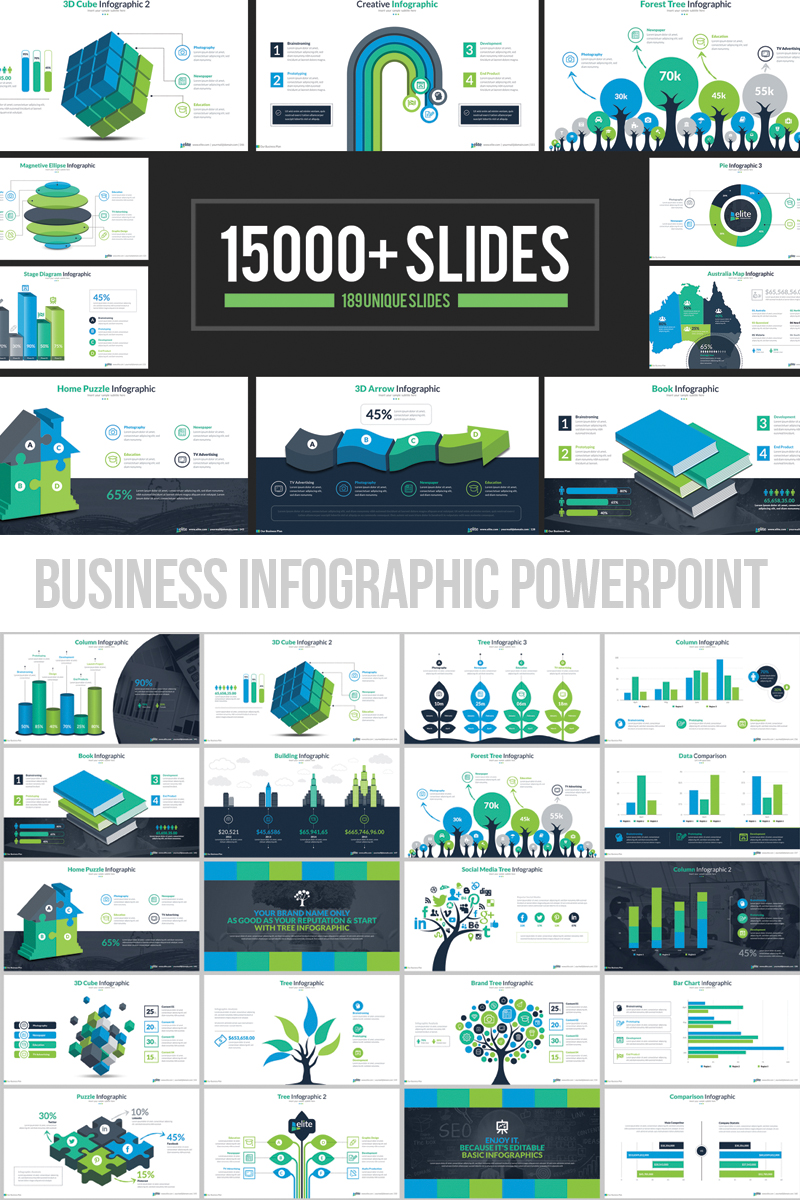 """Business Infographic Presentation"" 响应式PowerPoint 模板 #66340"