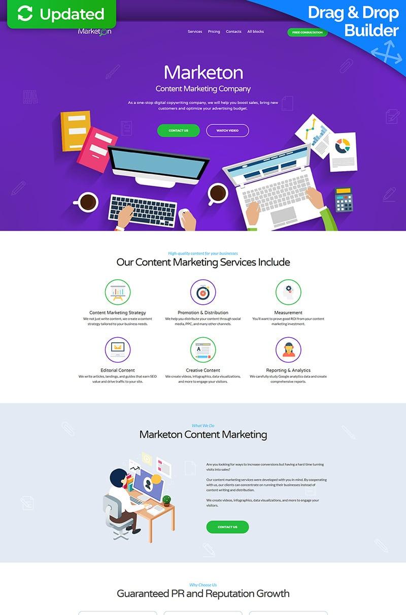"""Content Marketing Landing Page Template"" Responsive Landingspagina Template №66381"