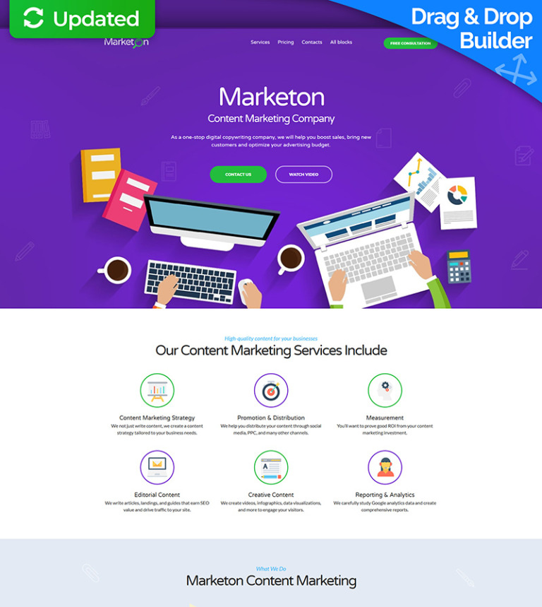 Content Marketing Landing Page Template - Sales landing page template