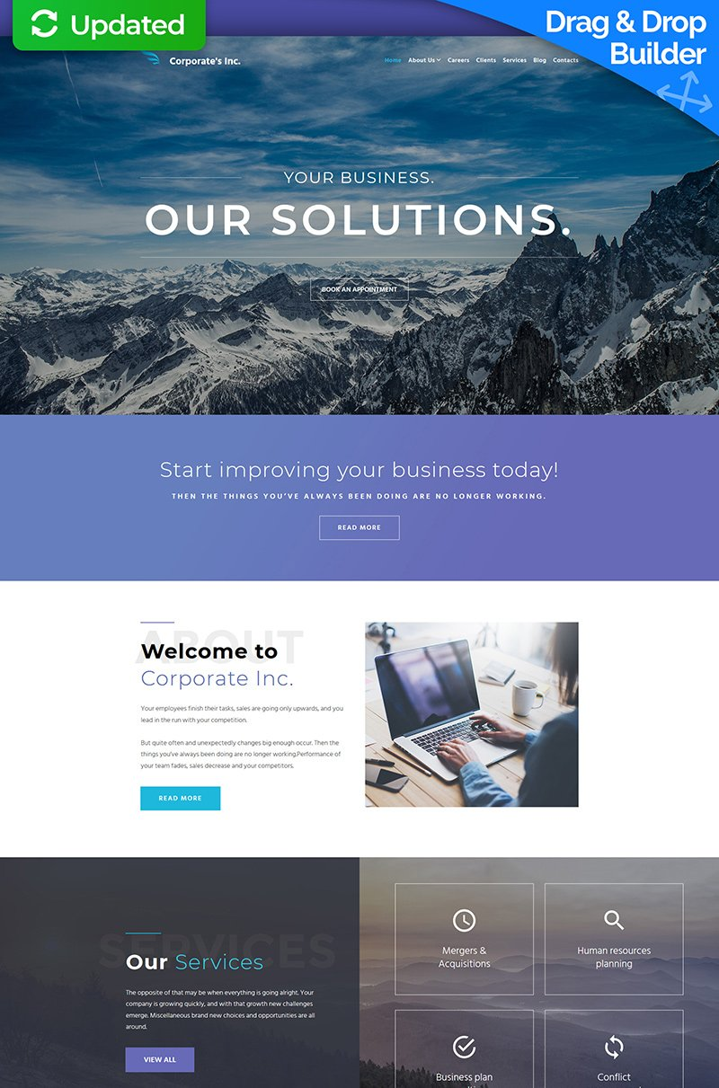 Corporate's Inc - Financial Advisor Moto CMS 3 Template