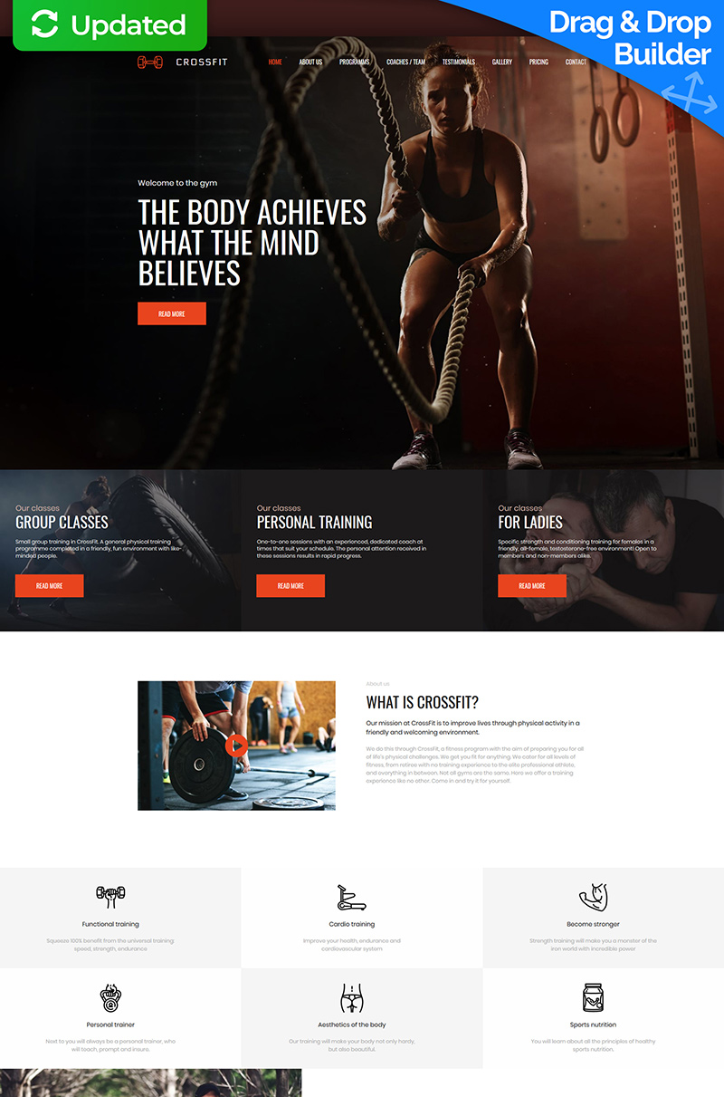 """Crossfit - Fitness Club Premium"" - адаптивний MotoCMS 3 шаблон №66390"