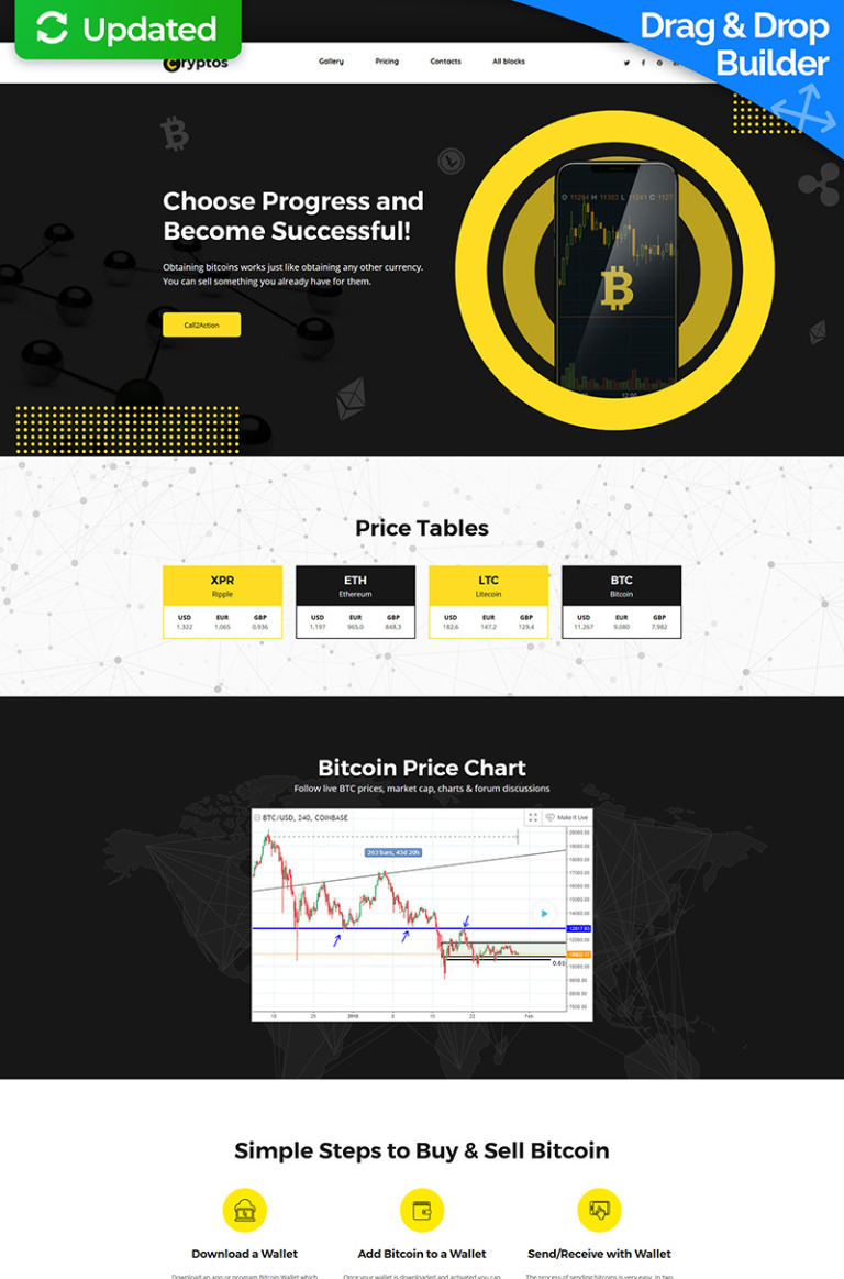 Cryptos  Bitcoin Cryptocurrency Motocms  Landing Page Template