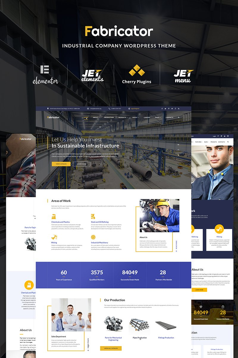 """Fabricator - Industrial Company Elementor"" WordPress模板 #66334 - 截图"