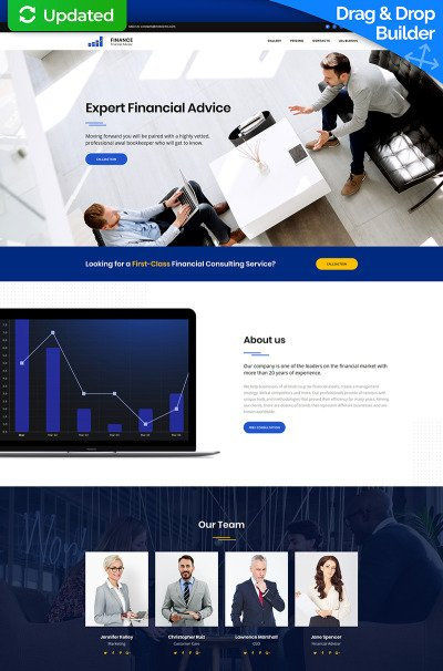 Financial Advisor MotoCMS 3 Landing Page Template #66382