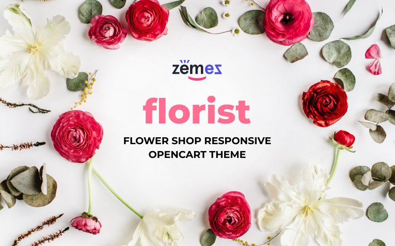 """Flower Shop Responsive"" Responsive OpenCart Template №66302"