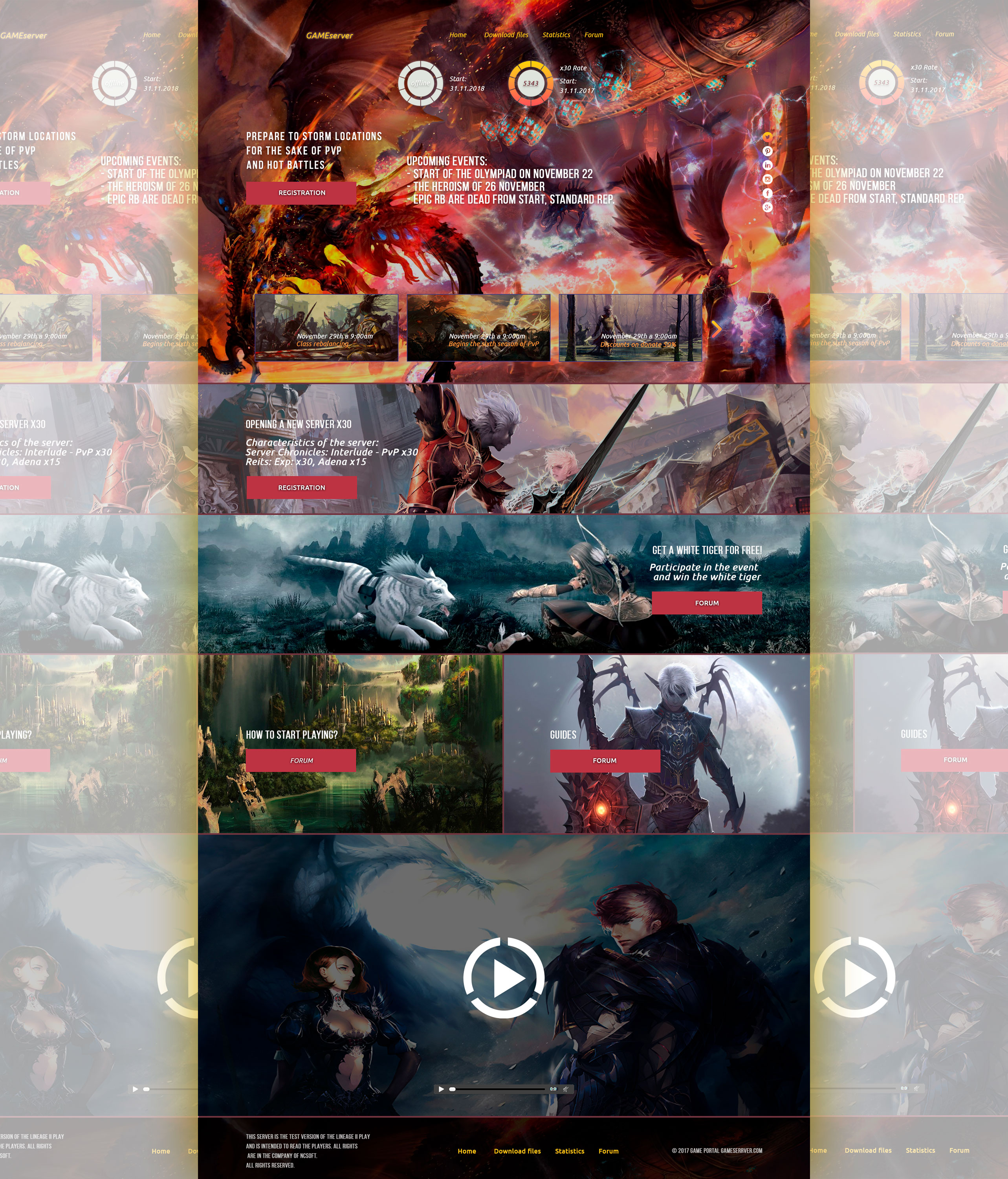 Game server L2-wow-aion PSD Template