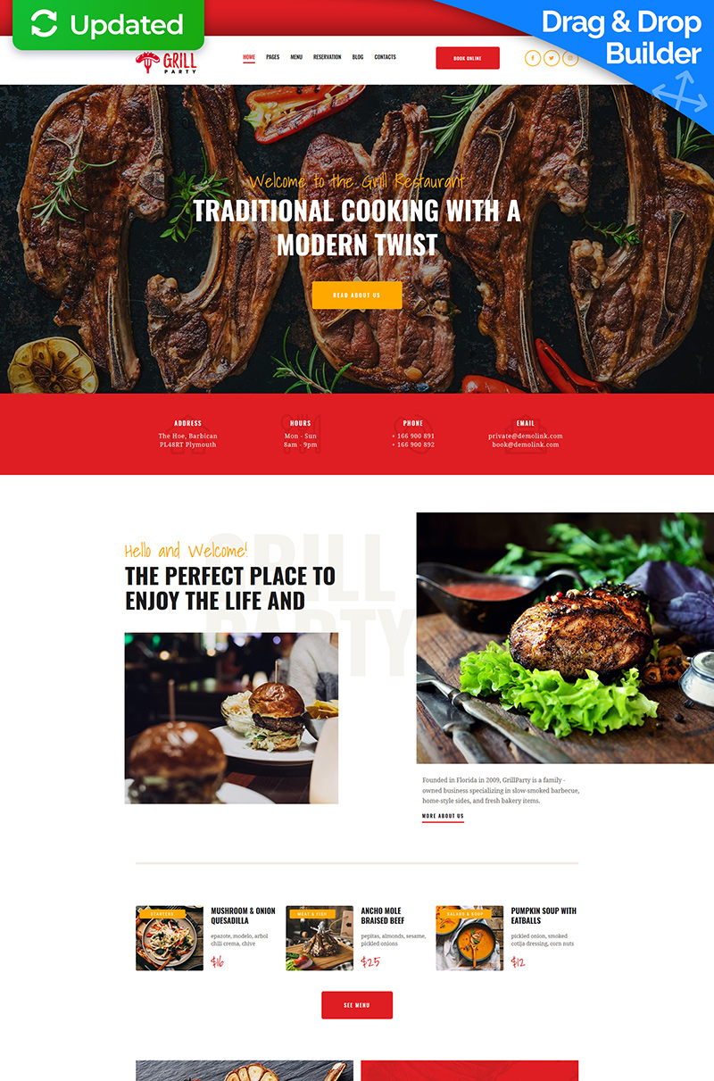 """Grill Restaurant Premium"" Responsive Moto CMS 3 Template №66394"