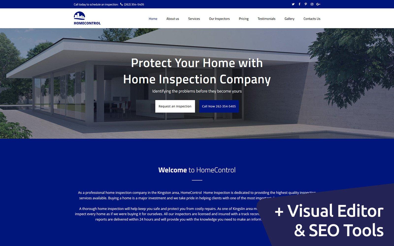 """Home Inspection Premium"" 响应式Moto CMS 3 模板 #66399 - 截图"