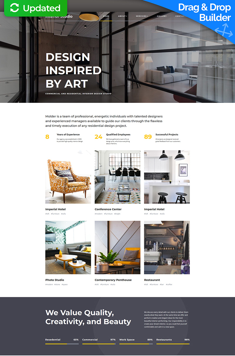 """""""Interior Design Premium"""" Responsive Moto CMS 3 Template №66396"""