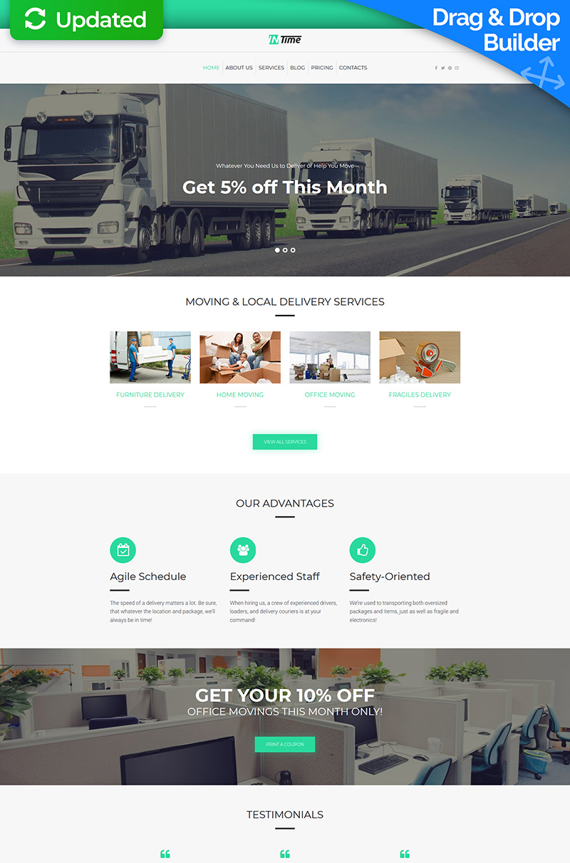 """InTime - Moving Company"" Responsive Moto CMS 3 Template №66365"