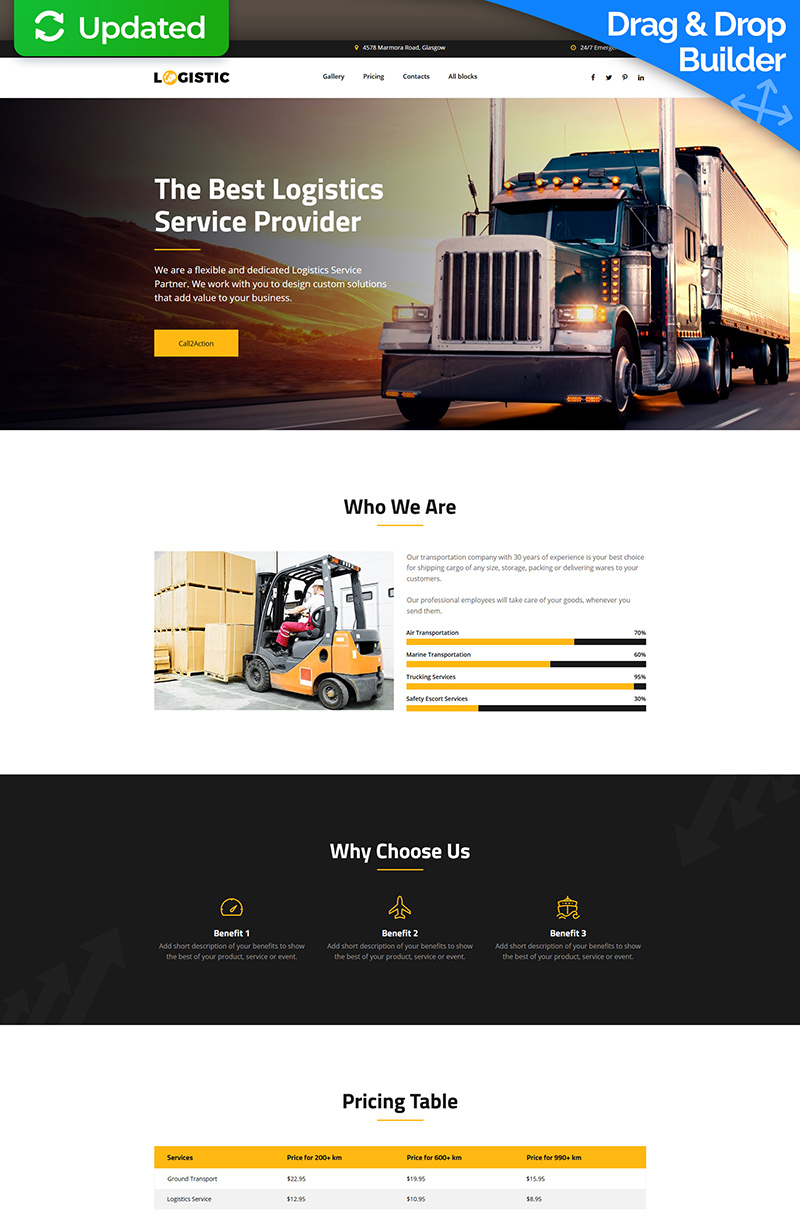 Logistic - Moving Company MotoCMS 3 Landing Page Template