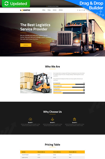 Logistic - Moving Company MotoCMS 3 Landing Page Template #66373