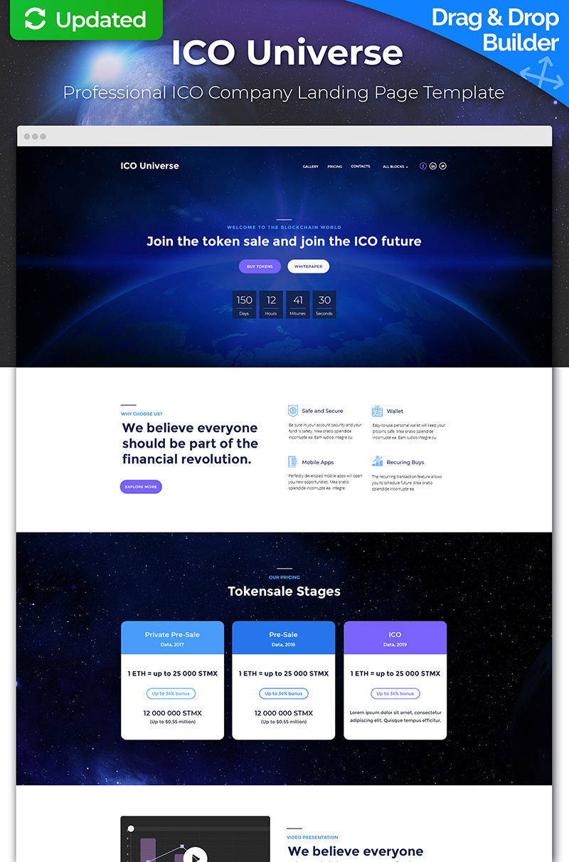 "Modello di Landing Page Responsive #66386 ""ICO Universe - Bitcoin Cryptocurrency MotoCMS 3"""