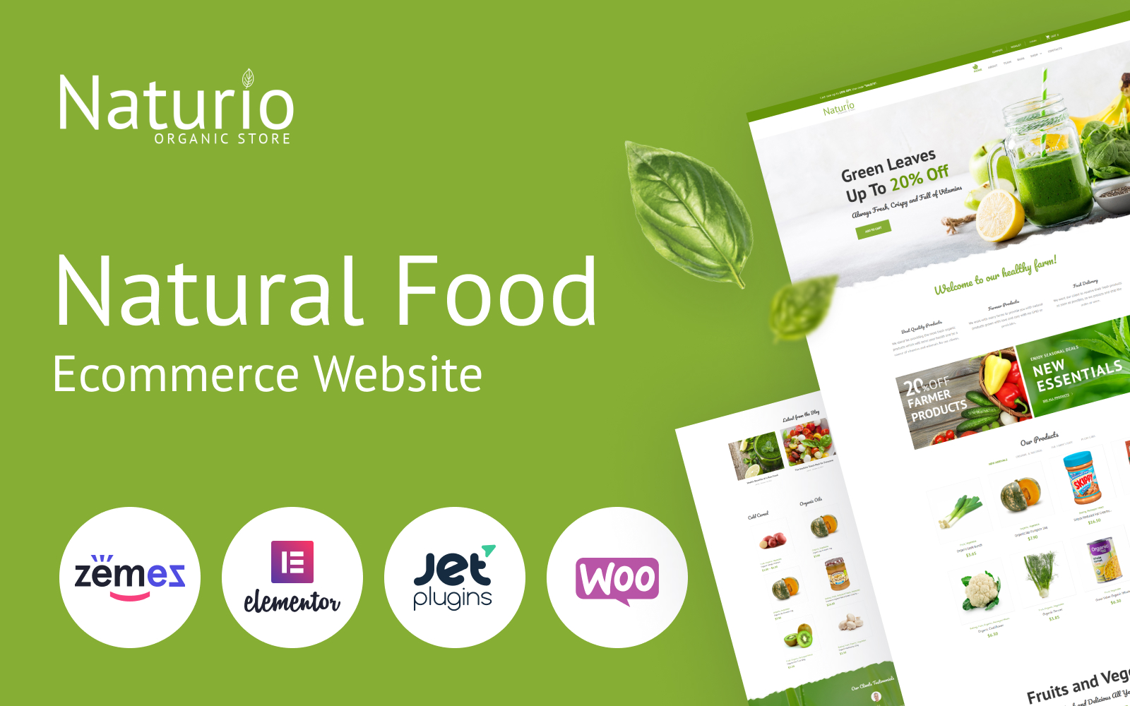 "Modello WooCommerce Responsive #66344 ""Naturio Food Store Template Elementor"""