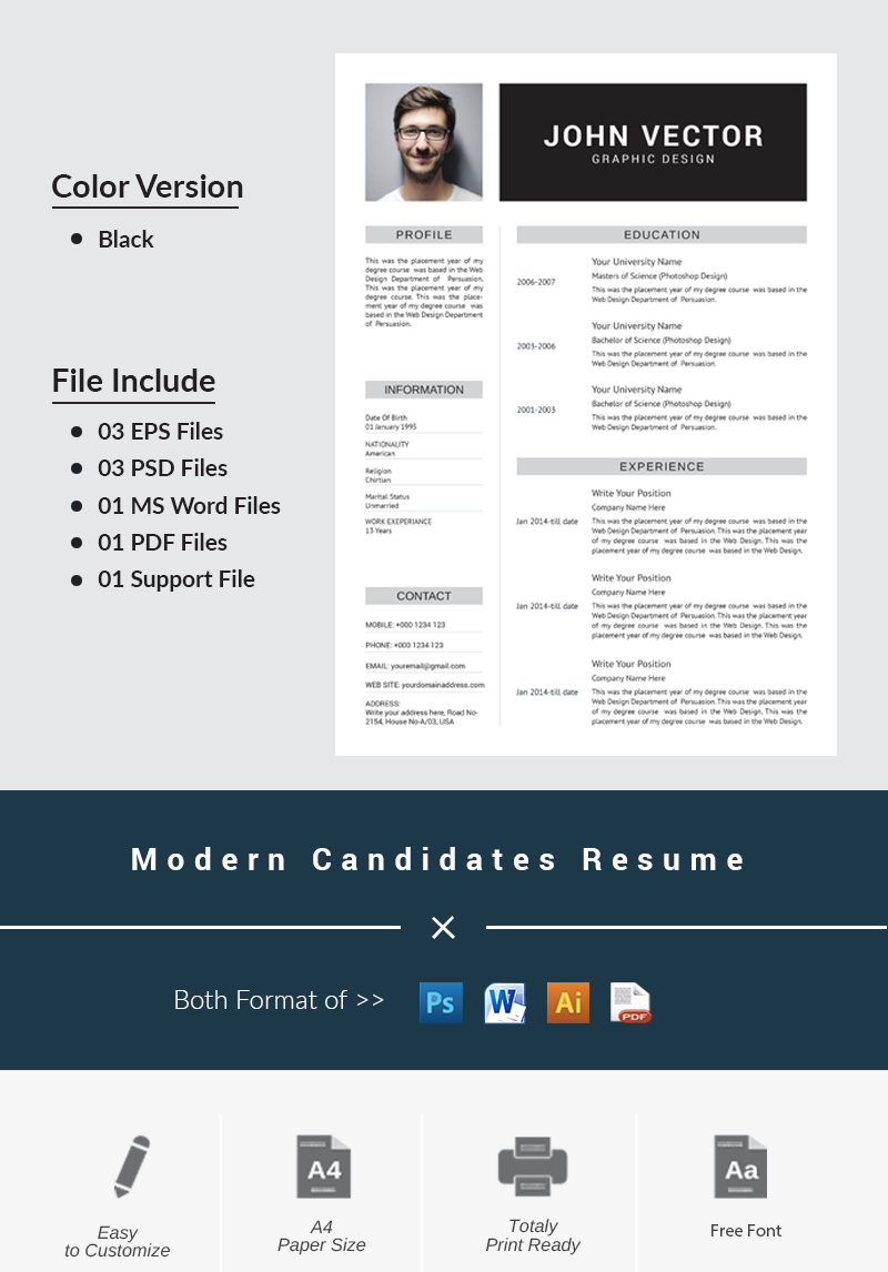 modern candidates resume template 66332