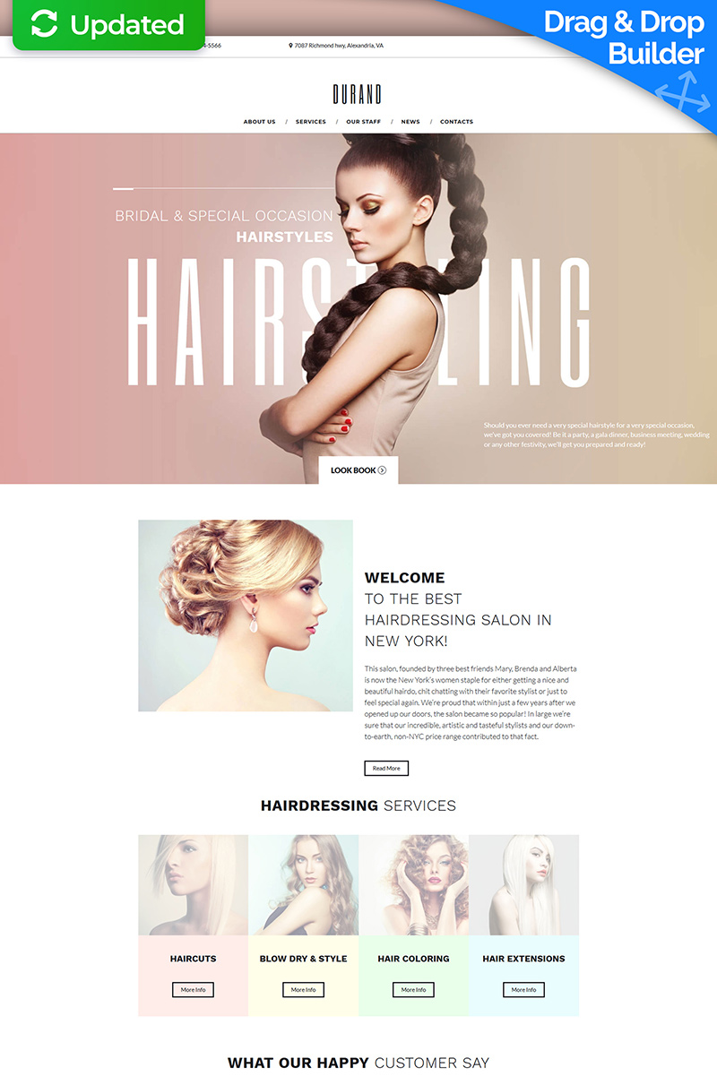 "Moto CMS 3 Template namens ""Beauty & Hair Salon"" #66360"