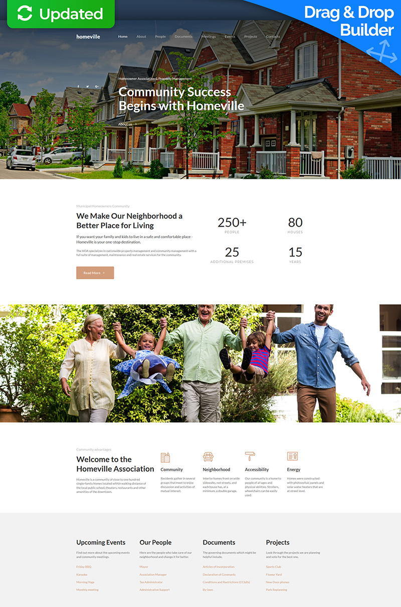 "Moto CMS 3 Template namens ""Homeville - Homeowners Association Premium"" #66387"