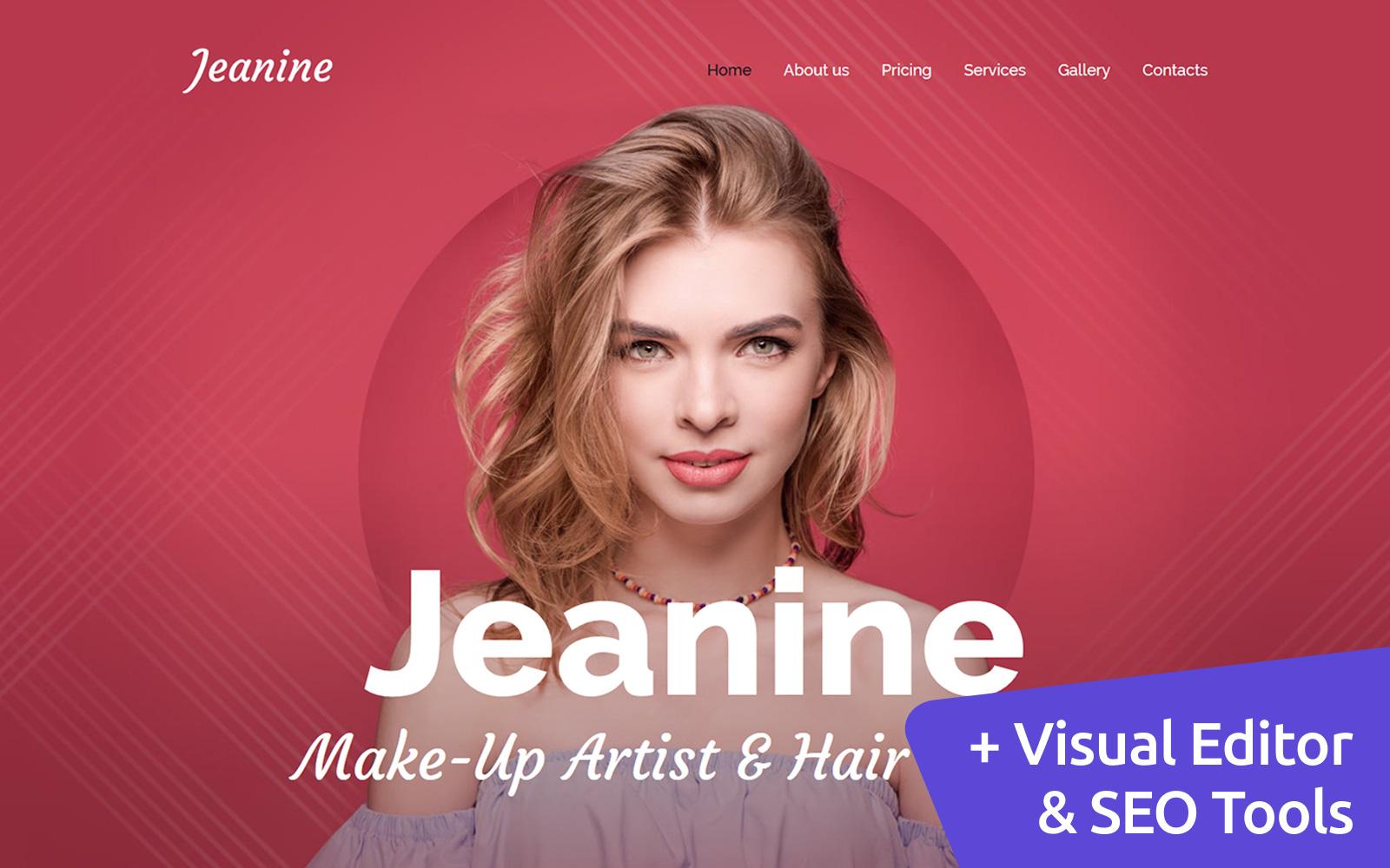 "Moto CMS 3 Template namens ""Jeanine - Make-Up Artist Premium"" #66398"