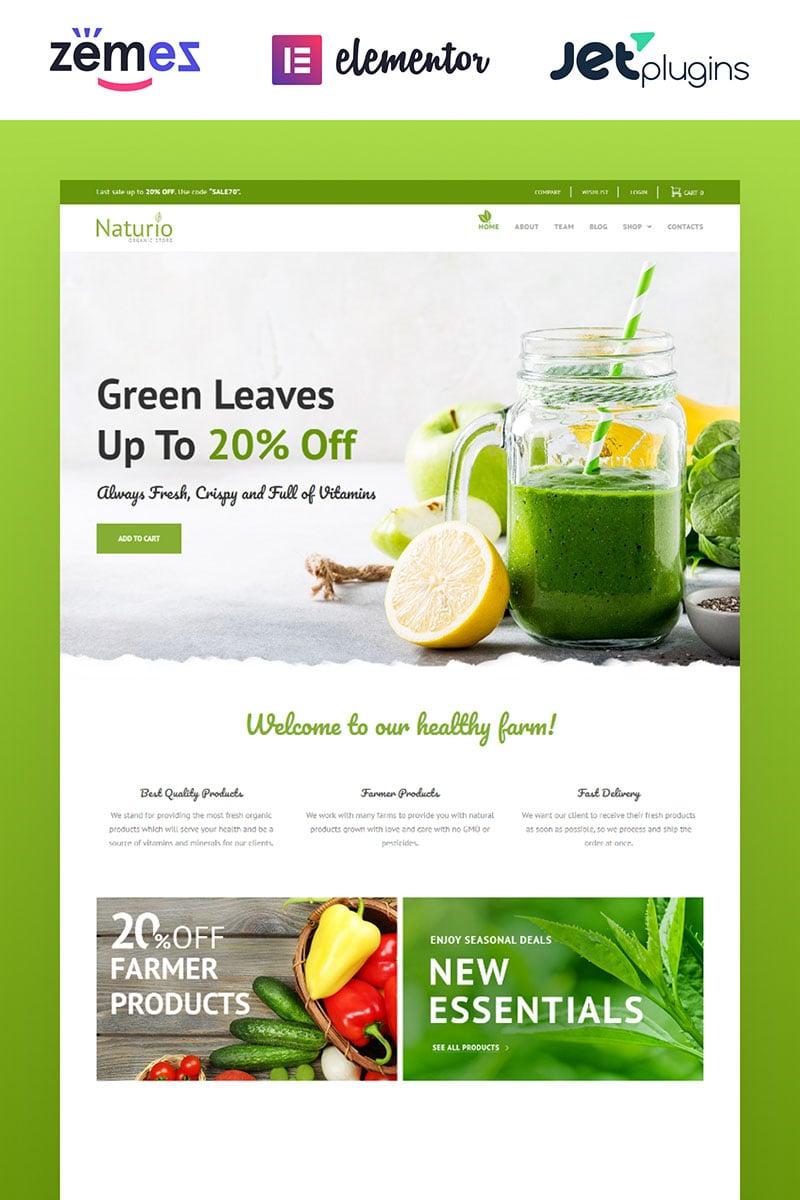 """Naturio Food Store Template Elementor"" - адаптивний WooCommerce шаблон №66344"