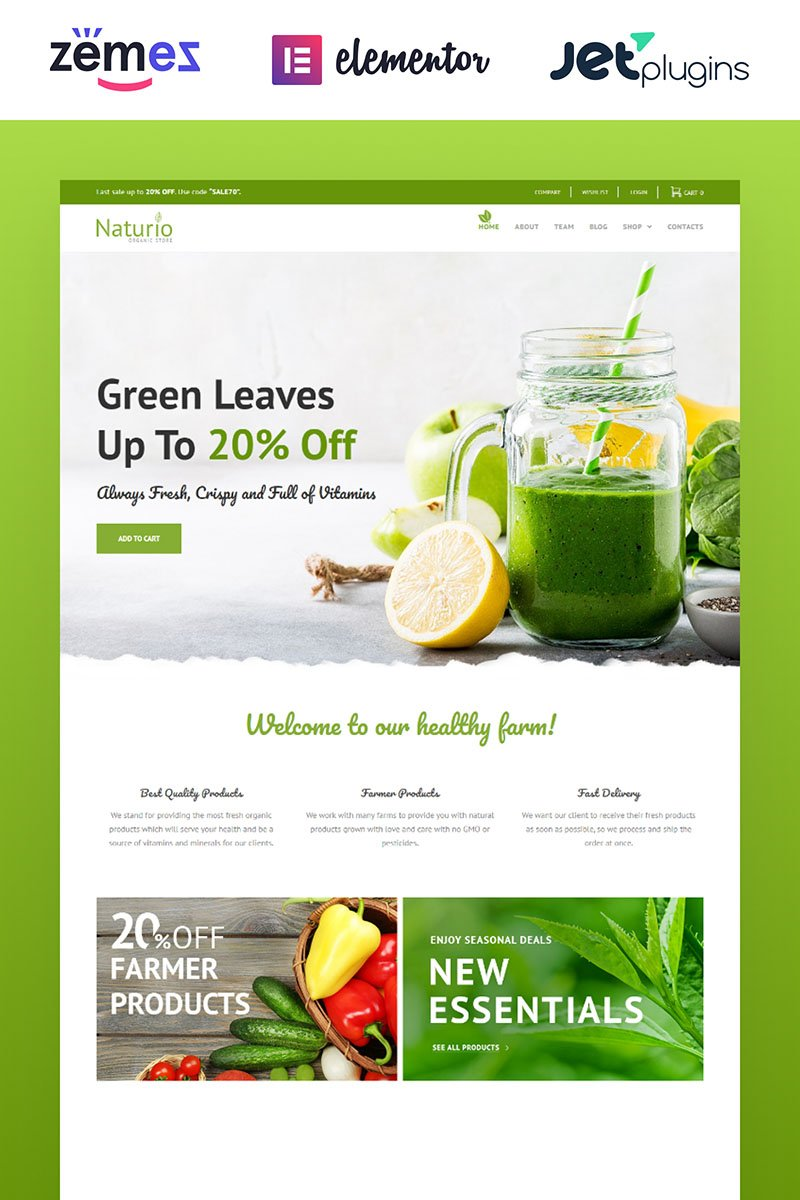 """Naturio Food Store Template Elementor"" Responsive WooCommerce Thema №66344"