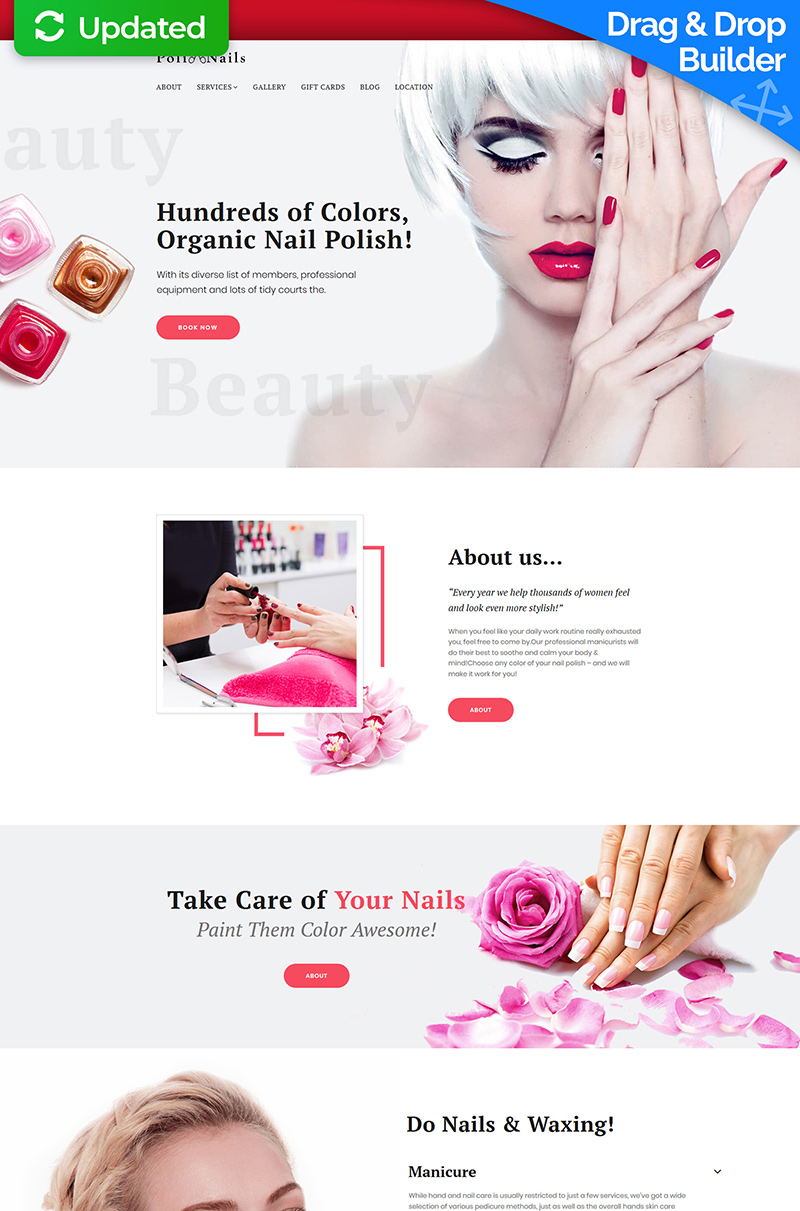 """Poli Nails - Nail Salon"" modèle Moto CMS 3 adaptatif #66351"