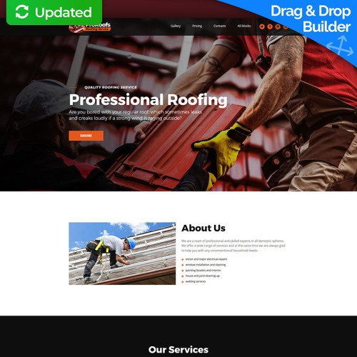 ProRoofs - Roofing Service MotoCMS 3 - Landing Page Template based on Bootstrap