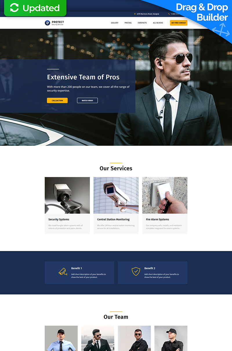 Protect - Security Servces MotoCMS 3 Landing Page Template