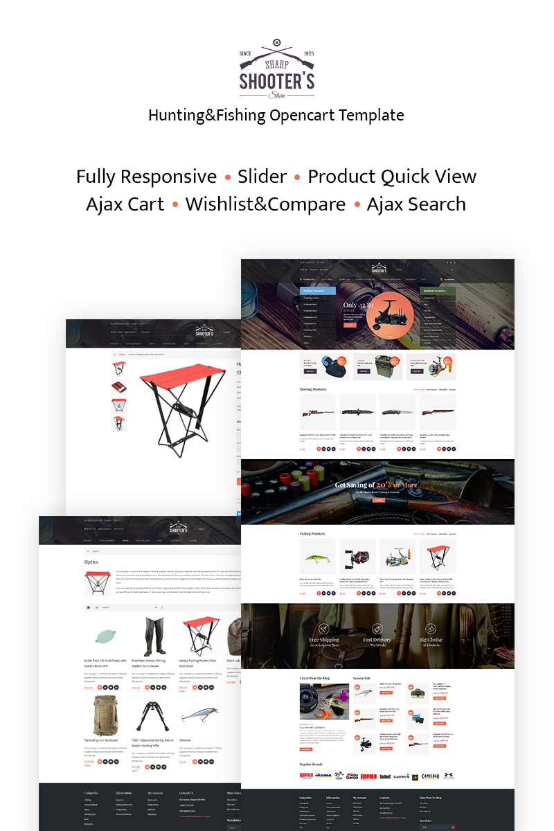 Responsive Shooter's - Fishing Responsive Opencart #66303