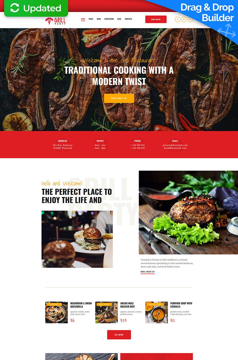 Responsivt Grill Restaurant Premium Moto CMS 3-mall #66394