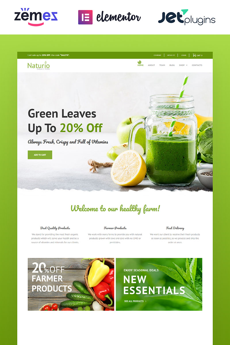 Responsivt Naturio Food Store Template Elementor WooCommerce-tema #66344