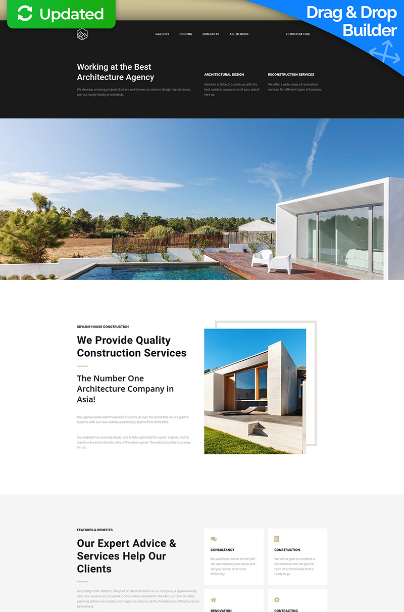 Responsivt Skyline - Construction MotoCMS 3 Landing Page-mall #66371