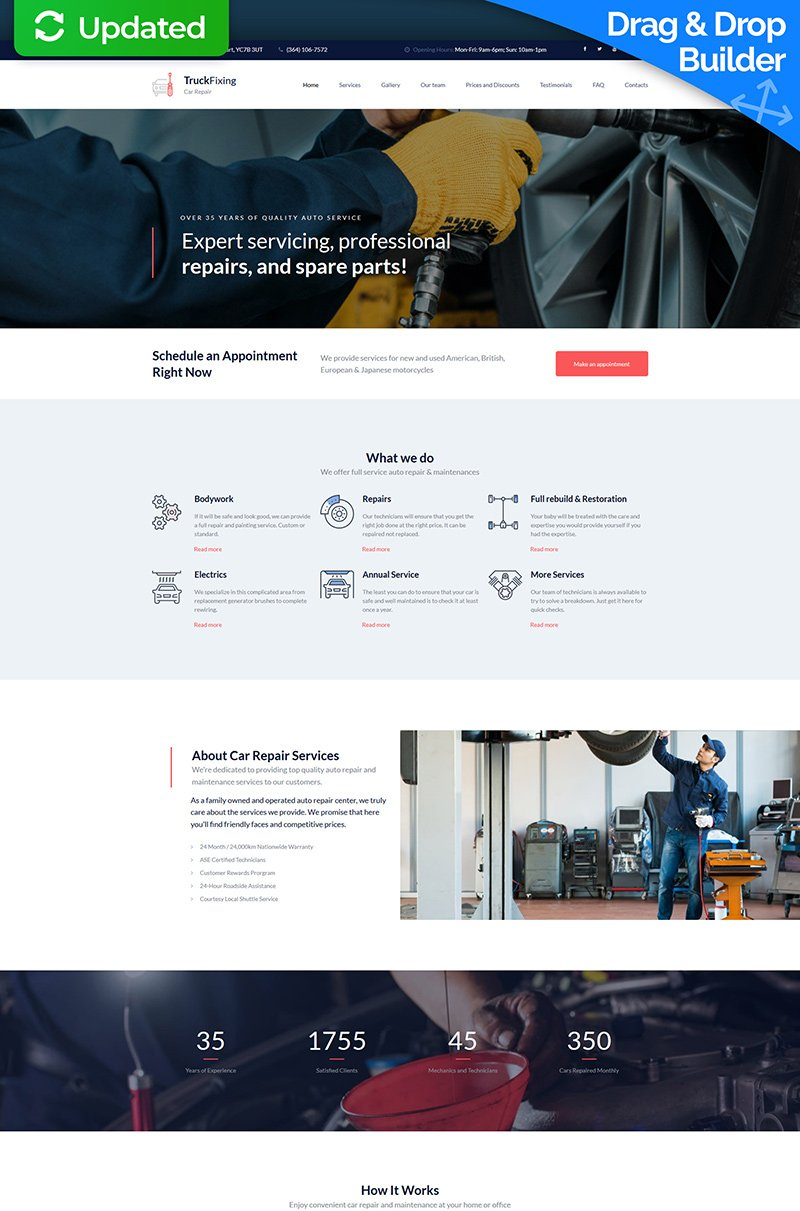 Responsivt TruckFixing - Car Repair Premium Moto CMS 3-mall #66392