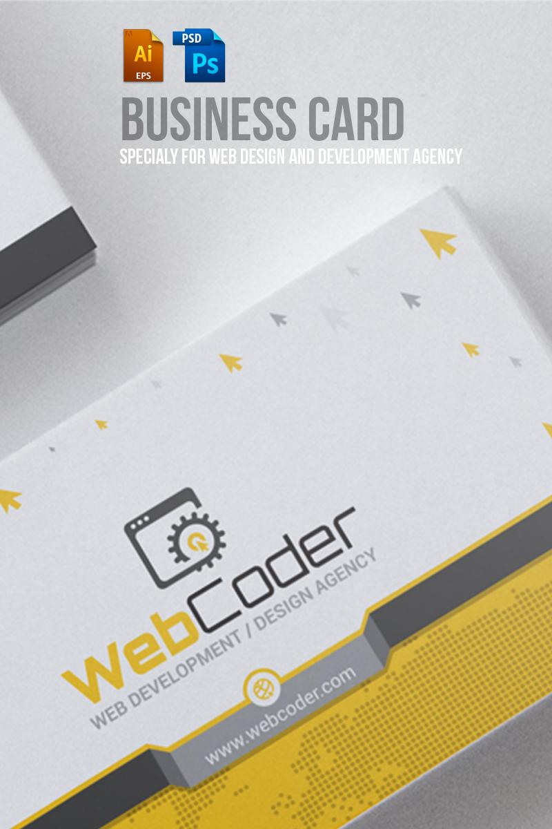 Reszponzív Business Card Design For Web Design And Developer PSD sablon 66306