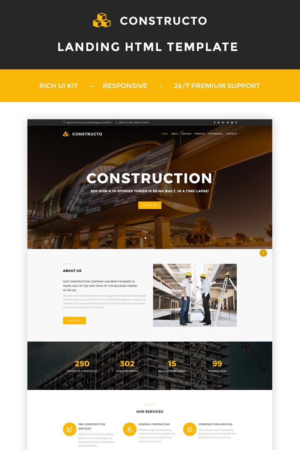 Reszponzív Constructo - Construction Company Nyítóoldal sablon 66300