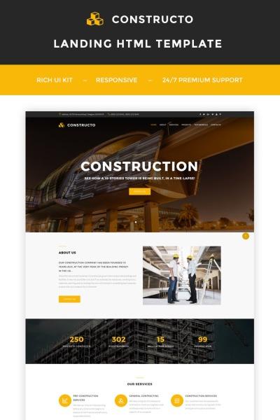 Адаптивный Шаблон посадочной страницы №66300 на тему строительные компании