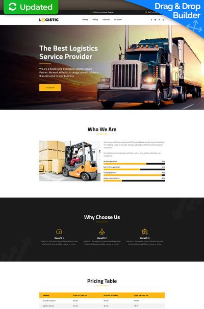 """Шаблон посадочной страницы """"Logistic - Moving Company MotoCMS 3"""" #66373"""