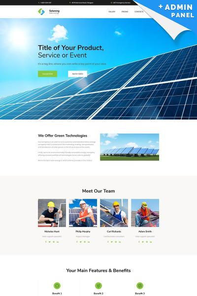 Адаптивный Шаблон посадочной страницы №66368 на тему солнечная энергия