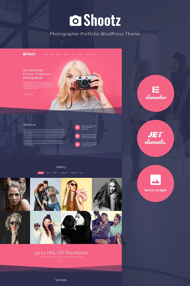 Shootz - Photographer Portfolio Tema WordPress №66326