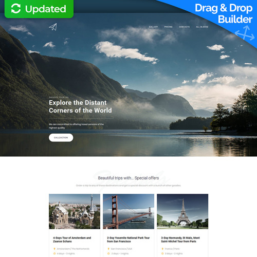Skyline - Travel Agency MotoCMS 3 - Landing Page Template based on Bootstrap